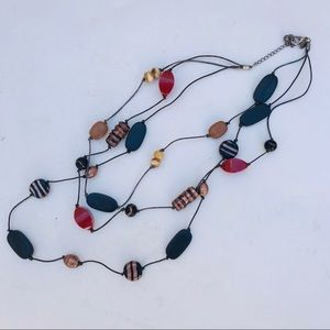 Chico's VTG Three Strand Beaded Leather Necklace